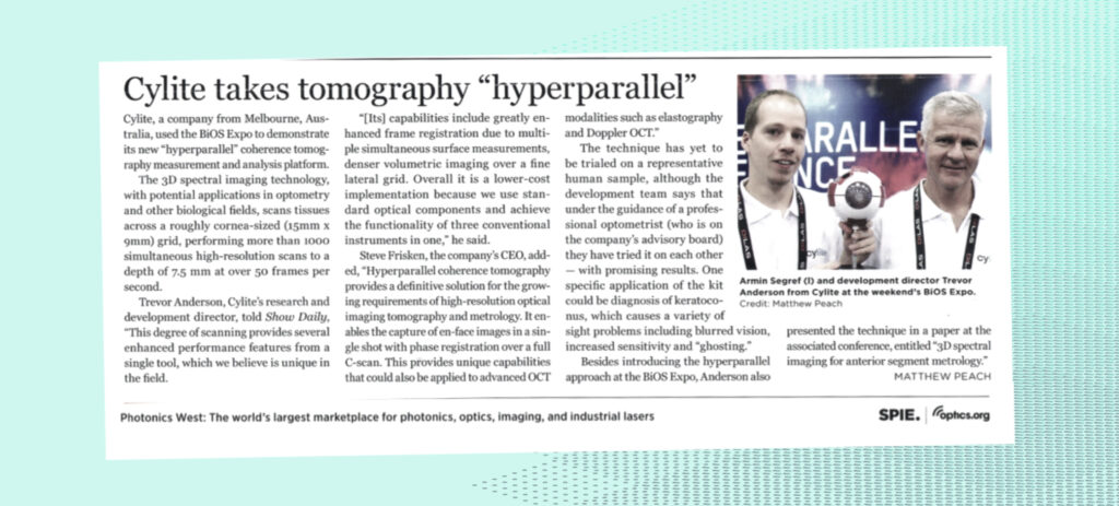 News clipping from Photonics West Daily
